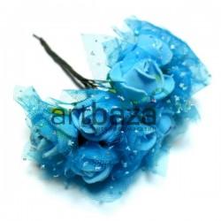 Набор декоративных розочек из латекса с голубым фатином на проволоке, голубого цвета с голубой, Ø20 - 25 мм., 10 штук, REGINA