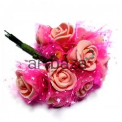 Набор декоративных розочек из латекса с розовым фатином на проволоке, персикового цвета, Ø20 - 25 мм., 10 штук, REGINA