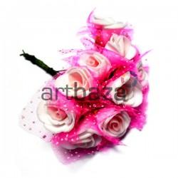 Набор декоративных розочек из латекса с розовым фатином на проволоке, белого цвета, Ø20 - 25 мм., 10 штук, REGINA
