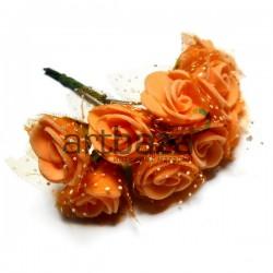 Набор декоративных розочек из латекса с оранжевым фатином на проволоке, оранжевого цвета, Ø20 - 25 мм., 10 штук, REGINA