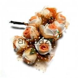 Набор декоративных розочек из латекса с оранжевым фатином на проволоке, бело - оранжевого цвета, Ø20 - 25 мм., 10 штук, REGINA