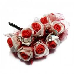 Набор декоративных розочек из латекса с красным фатином на проволоке, бело - красного цвета, Ø20 - 25 мм., 10 штук, REGINA
