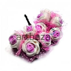 Набор декоративных розочек из латекса с розовым фатином на проволоке, бело - розового цвета, Ø20 - 25 мм., 10 штук, REGINA