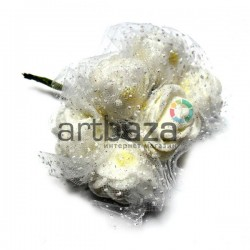 Набор декоративных розочек из латекса с белым фатином на проволоке, белого цвета в глиттере, Ø25 - 30 мм., 6 штук, REGINA