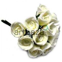 Набор декоративных розочек из фоамирана на проволоке, белого цвета, Ø20 - 25 мм., 11 штук, REGINA
