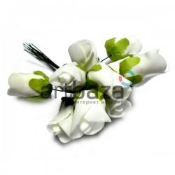 Набор декоративных розочек из фоамирана на проволоке, белого цвета, Ø25 - 30 мм., 10 штук, REGINA