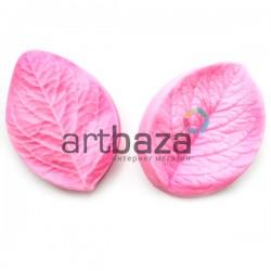 Силиконовый молд 3D (вайнер), лист розы 2 части, размер 7.2 x 5.2 см, толщина 2.6 см., REGINA