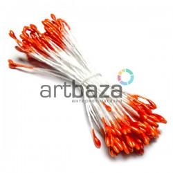 Тычинки для цветов двухсторонние, оранжевые, Ø2 мм., длина 6 см. | Тычинки для искусственных цветов купить оптом в Украине