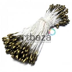 Тычинки для цветов двусторонние, золотые, Ø2 мм., длина 6 см., REGINA