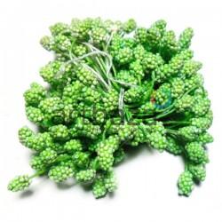 Тычинки для цветов (гроздь), двусторонние, зелёные, размер 6 мм., длина 6 см., REGINA