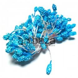 Тычинки для цветов (гроздь), двусторонние, голубые, размер 6 мм., длина 6 см., REGINA