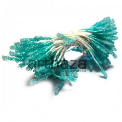 Тычинки для цветов (пестик) двусторонние, бирюзовые, размер 10 мм., длина 6 см., REGINA
