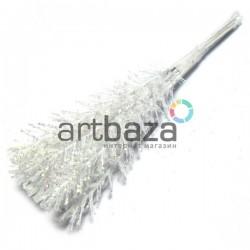 Набор декоративных стеблей с глиттером, белые, 12 см., 10 штук, REGINA