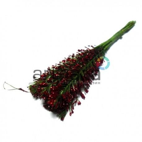 Набор декоративных стеблей с глиттером, красные, 12 см., 10 штук, REGINA