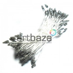 Тычинки для цветов двусторонние с глиттером, серебро, размер Ø3 - 6 мм., длина 6 см., REGINA