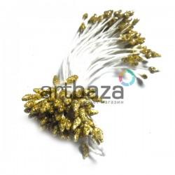 Тычинки для цветов двусторонние, белые с золотым глиттером, размер Ø3 - 6 мм., длина 6 см., REGINA