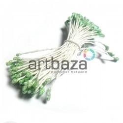 Тычинки для цветов двусторонние с глиттером, салатовые, размер Ø3 - 6 мм., длина 6 см., REGINA