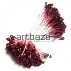 Тычинки для цветов двусторонние с глиттером, красные, размер Ø3 - 6 мм., длина 6 см., REGINA