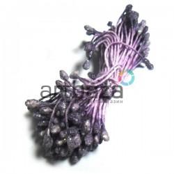 Тычинки для цветов двусторонние с глиттером, светло-фиолетовые, размер Ø3 - 6 мм., длина 6 см., REGINA
