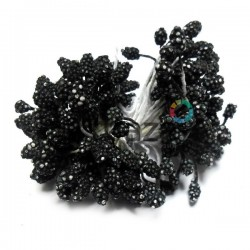 Тычинки для цветов (гроздь), двусторонние, черные, размер Ø6 мм., длина 6 см., REGINA