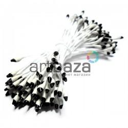 Тычинки для цветов двусторонние двухцветные, бело - черные, размер 3 мм., длина 6 см., REGINA