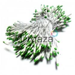 Тычинки для цветов двусторонние двухцветные, бело - салатовые, размер 3 мм., длина 6 см., REGINA