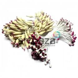 Тычинки для цветов двусторонние двухцветные, бело - бордовые, размер 3 мм., длина 6 см., REGINA
