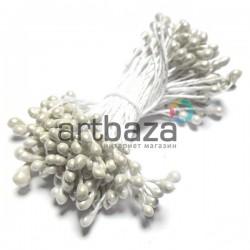 Тычинки для цветов двусторонние, жемчужные белые, крупные, размер Ø3 мм., длина 6 см., REGINA