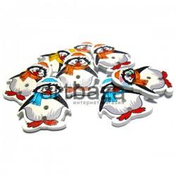 """Набор деревянных декоративных пуговиц """"Пингвин"""", 2.5 x 3 см., 8 штук, REGINA"""