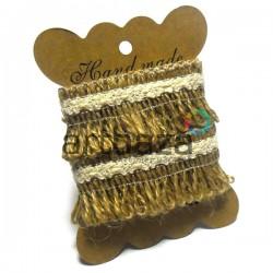 Джутовая тесьма, плетеная натуральная пеньковая с тесьмой, ширина - 4 см., толщина - 2 мм., REGINA