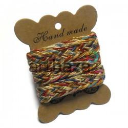 Джутовая тесьма, плетеная натуральная цветная с люрексом, ширина - 2 см., толщина - 2 мм., REGINA
