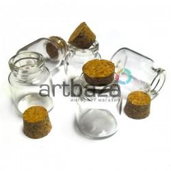 Баночки – мини стеклянные с корковой пробкой для украшений и рукоделия, Ø3 см., высота 4 см. купить в Украине