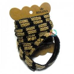 Джутовая лента плетеная натуральная пеньковая с черными нитями, ширина - 1.5 см., толщина - 3 мм., длина - 1.5 м., REGINA