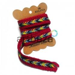 Джутовая тесьма, плетеная натуральная красная, ширина - 2 см., толщина - 2 мм., длина - 1 м., REGINA