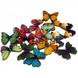 """Набор цветных деревянных декоративных пуговиц """"Бабочки"""" темные, 28 x 20 мм., 15 штук, REGINA"""