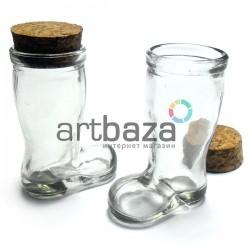 Стеклянная емкость для жидкости и специй с корковой пробкой (диаметр горлышка 3.3 см., высота 8 см.), REGINA