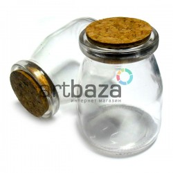 Стеклянная банка для жидкости и специй с корковой пробкой (диаметр горлышка 4 см., высота 8.2 см.), REGINA