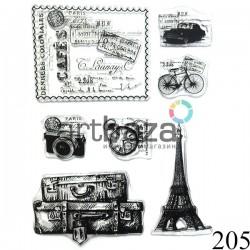 """Штампы для скрапбукинга (силиконовые штампы), набор """"Отдых в Париже"""", 15 х 20.5 см."""