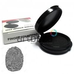 Подушка дактилоскопическая для снятия отпечатков пальцев, черная, Ø34 мм.