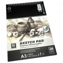 Альбом для эскизов на спирали SKETCH PAD, 297 x 420 мм., 24 листа, Art Nation