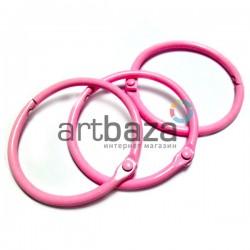 Набор колец металлических розовых для переплета (скрапбукинга), разъёмных, Ø4.2 см., 3 штуки, REGINA