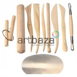 Набор деревянных скульптурных стеков для лепки из глины и пластилина, 10 предметов, Maries