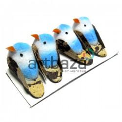 Набор декоративных птичек - голубей для декора, голубых пятнистых, 1.5 x 2.8 см., 4 штуки, REGINA