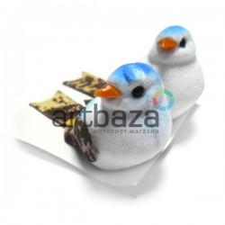 Набор декоративных птичек - голубей пятнистых для декора, голубых, 3 x 5 см., 2 штуки, REGINA