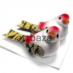 Набор декоративных птичек - голубей пятнистых для декора, красных, 3 x 5 см., 2 штуки, REGINA
