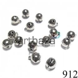 Набор бубенчиков металлических декоративных серебряных Hand Made, Ø0.8 см., 15 штук, REGINA