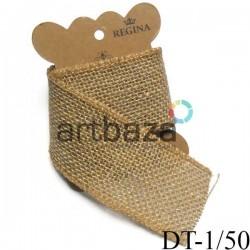 Джутовая мешковина, плетеная натуральная пеньковая, ширина - 5 см., толщина - 2 мм., длина - 1 метр, REGINA