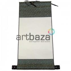 Свиток для китайской каллиграфии и живописи, зеленый шёлк, р-р: 27.3 x 52 см.