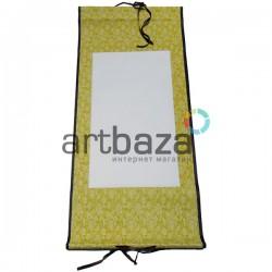 Свиток для китайской каллиграфии и живописи с рисовой бумагой, желтые цветы, р-р: 30.5 x 67 см.