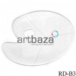 Палитра пластиковая художественная для красок, овальная без ячеек на 3 деления, 43 x 30 см., Maries